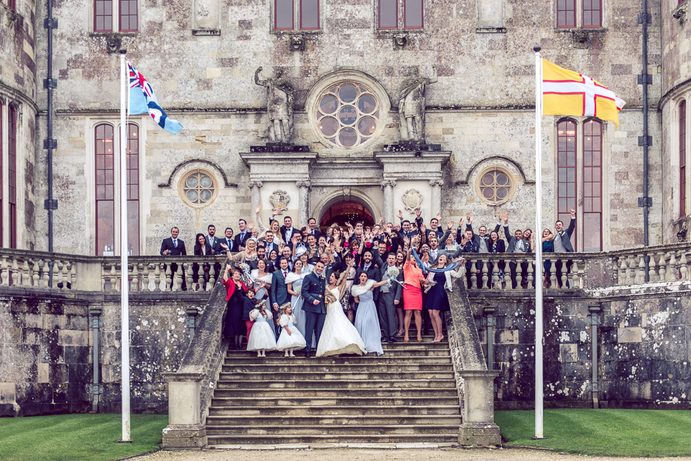 Lulworth Castle Wedding Photographer Group Portraits on steps