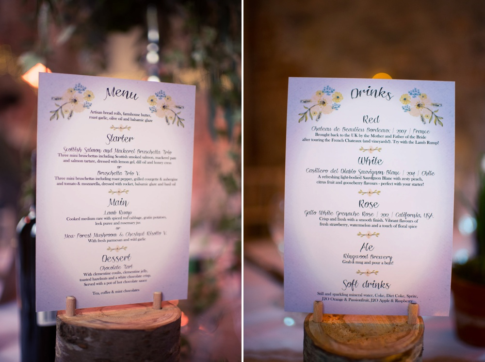 Lulworth Castle Wedding Venue printed menus