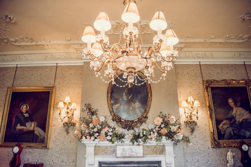 Plywell Park wedding flowers on fireplace