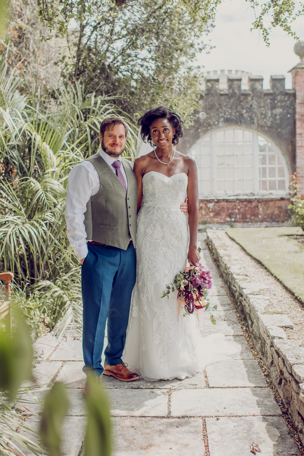 Brownsea island Wedding portraits in the castle grounds
