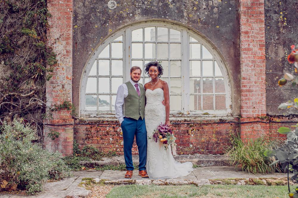 Brownsea island Wedding Bride & Groom photos in the john lewis castle grounds