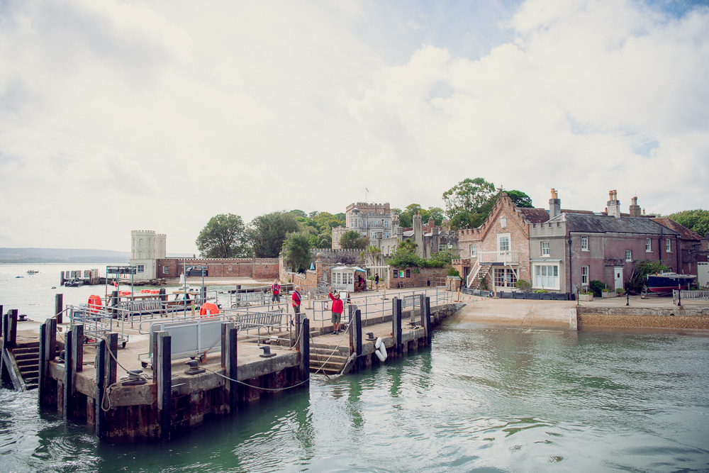 Arriving at Brownsea island Wedding National Trust jetty