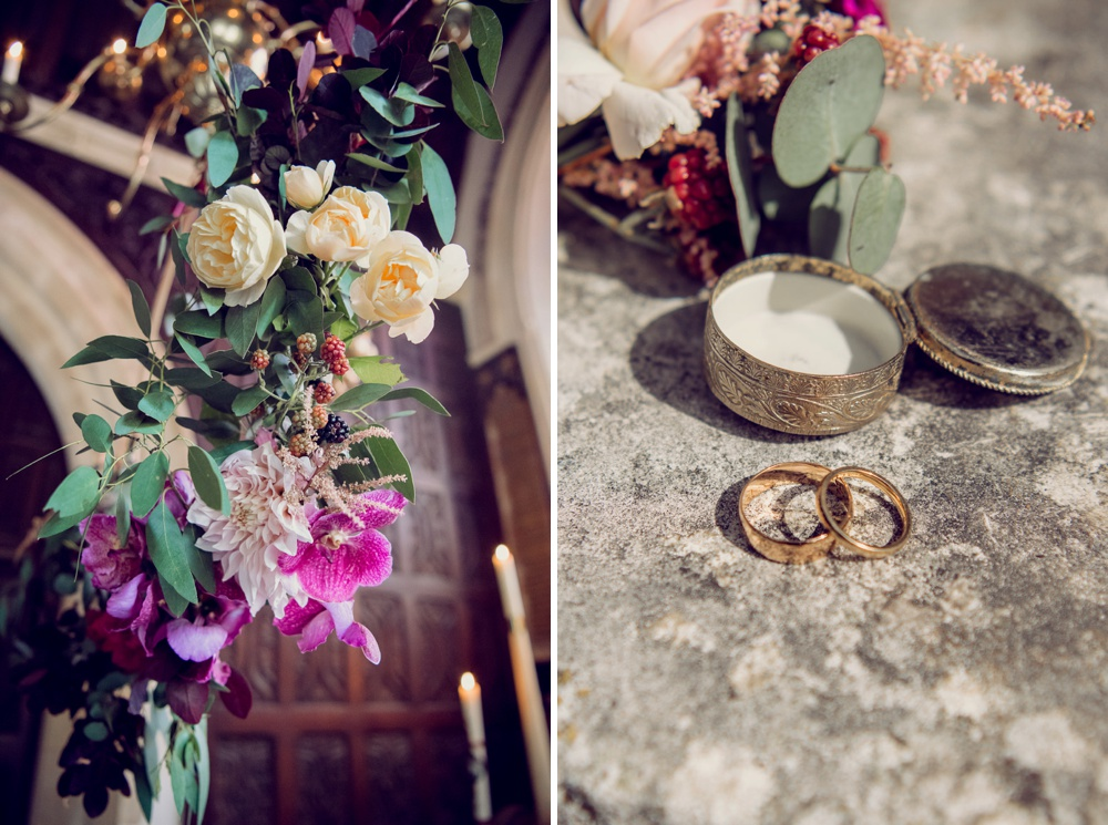 Flowers rings and a beautiful ring box on the church step.