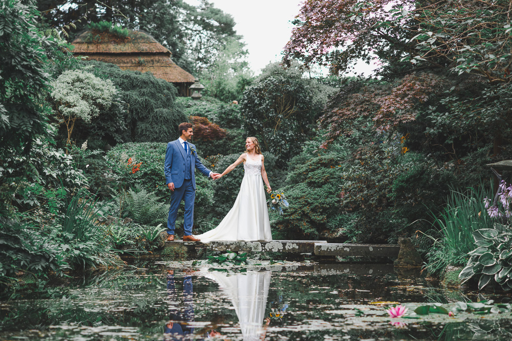 Wedding portraits in the Japanese Gardens at Italian Villa at Compton Acres in poole