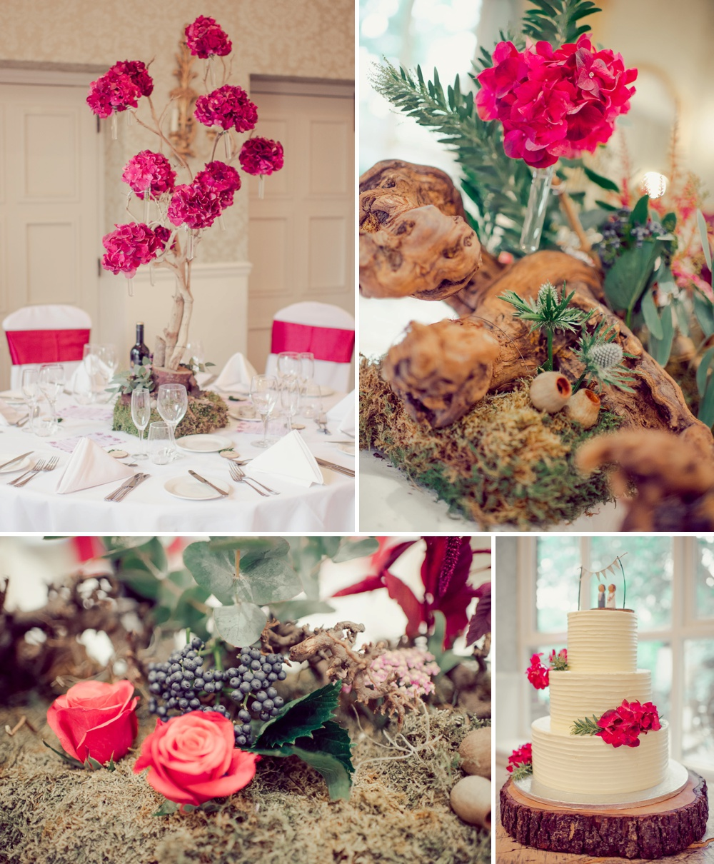 Wedding at Careysmanor with trees of orchids wedding cake and roses