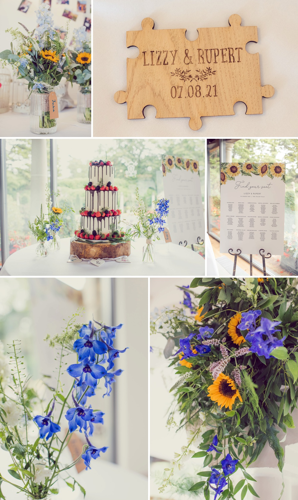 Wedding cake and flowers at Italian Villa at Compton Acres in poole