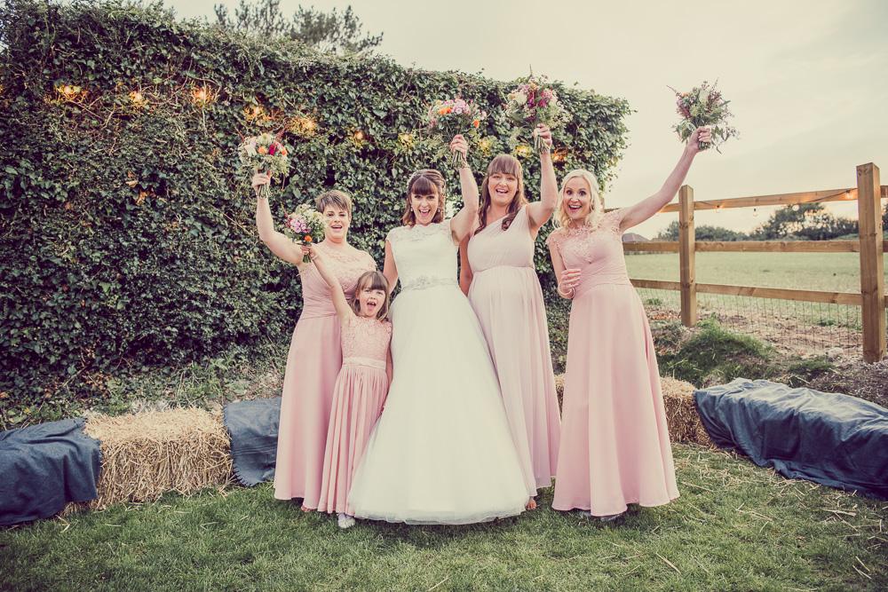 Dorset marquee wedding bridesmaids dresses.