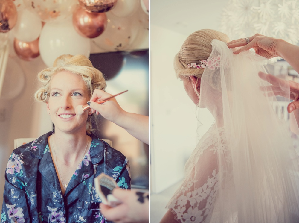 Bridal prep makeup and hair