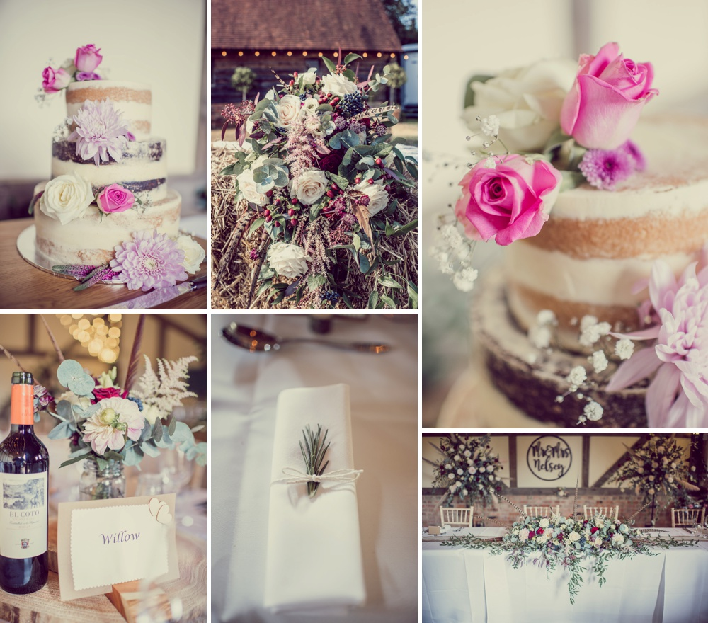 Barn Wedding Flowers and Cake in Hampshire
