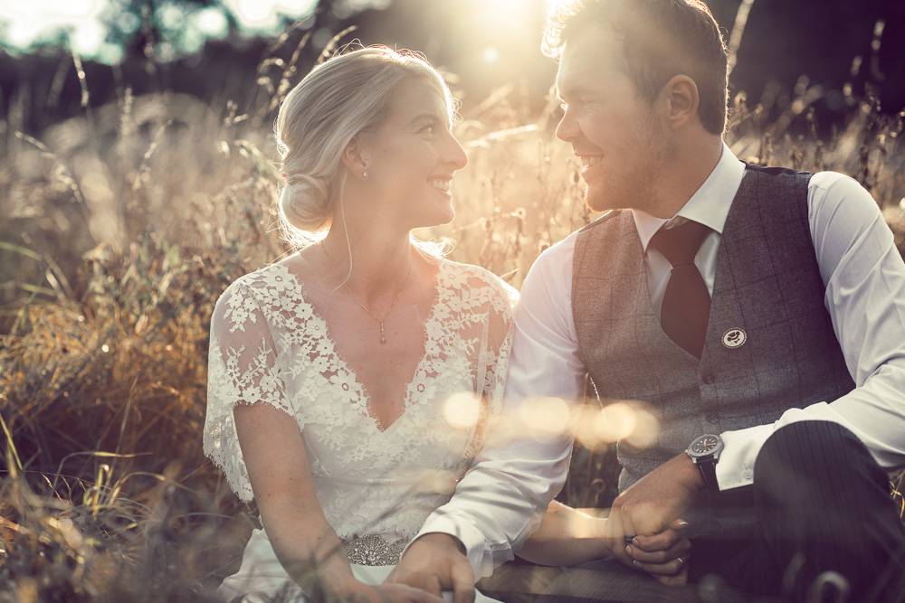 Hampshire Bride & Groom wedding photo at sunset
