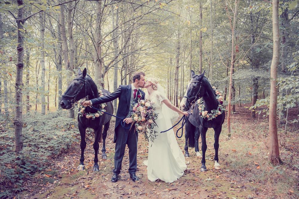 Amazing Bride & Groom Wedding Photo with Horses in hampshire